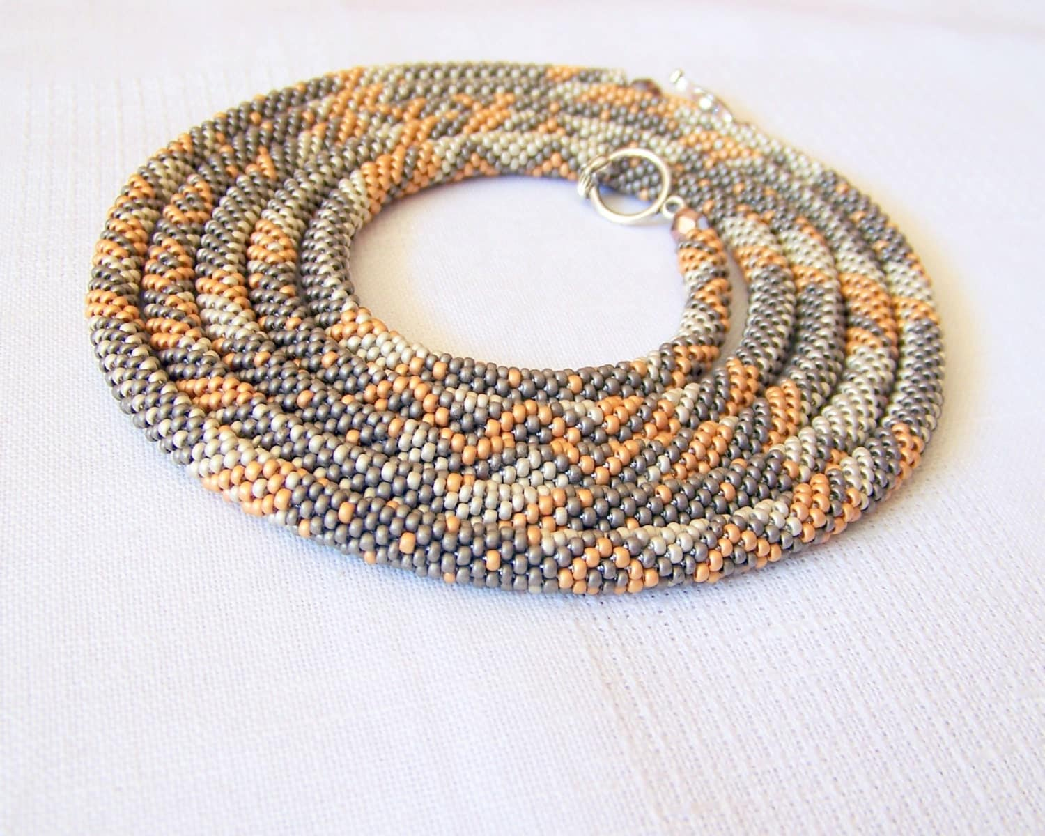 Long Beaded Crochet Rope Necklace Beadwork Seed beads
