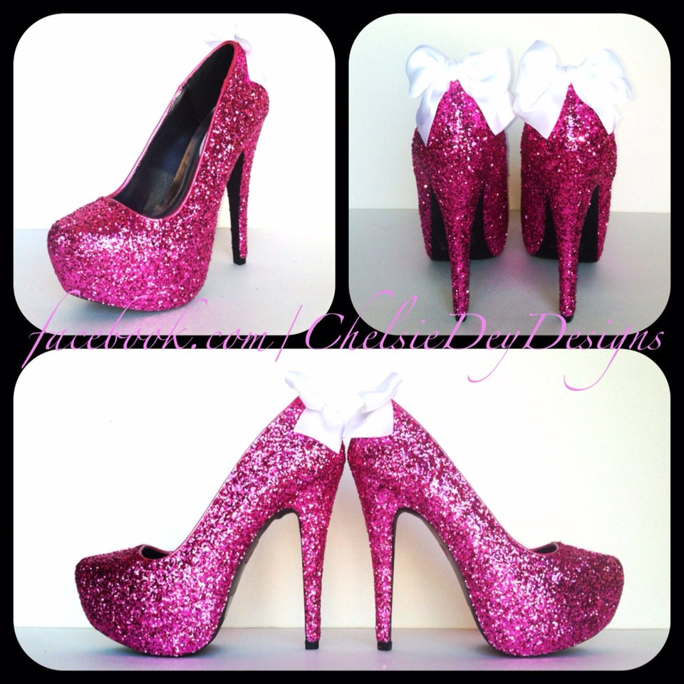 Glitter High Heels - Hot Pink Pumps - Sparkly Platform Shoes ...