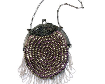 Vintage beaded purse with bead fringe, woven purple fiber, silver frame and chain