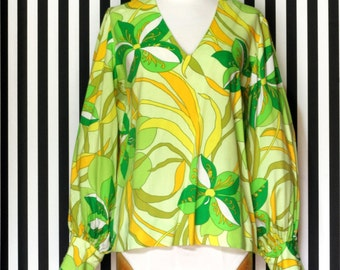 60's Barkcloth Top Pucci Inspired