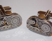 Oval Jeweled Steampunk Watch Movement Cufflinks