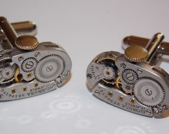 Oval Jeweled Steampunk Watch Movement Cufflinks
