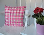 "Lovely 16""x16"" children tartan pillow cover Pink tartan Girls pillow Pink and lavender pillow Pink and orange pillow Pink cushion for girls"