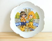Vintage Wide Eyed Children Plate, Wide Eyed Kids Plate, Vintage Plate Wall Hanging