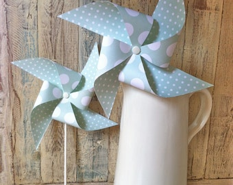 Pinwheels - Mint Collection - Set of 8 Paper Pinwheels - Wedding Decor - Shabby Chic Rustic Wedding