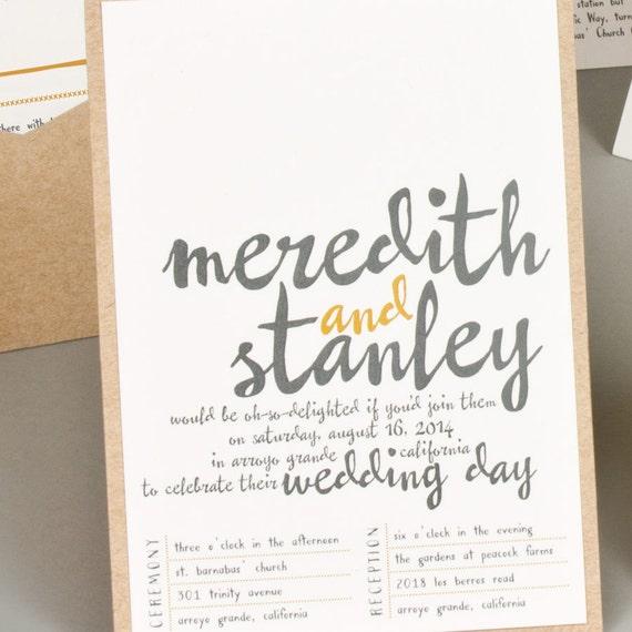Modern hand lettered wedding invitation vintage by suitepaper for Hand lettered invitations