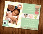 "Photo ""Little Monster"" First Birthday Invitation"