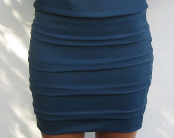Navy Blue Tiered Pencil Skirt