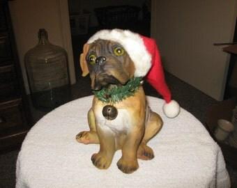 Plastic Christmas Dog With A SANTAS HAT