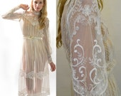 VTG 70s Sheer Embroidered Scallop Lace Victorian Ivory Garden Wedding Boho Dress