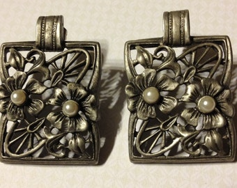 Floral Design Pierced Earrings Silver Tone and Pearl Accents