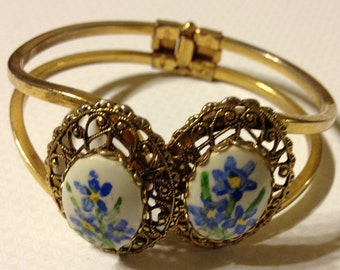 Handpainted Bangle Bracelet Gold Tone with Blue and Yellow Floral Design