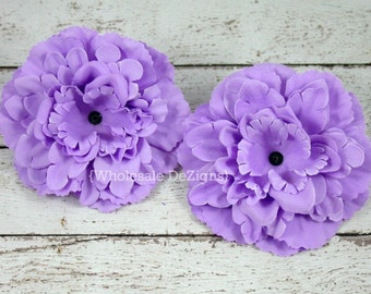 """Lavender Silk Peony flowers - 4 inches Flower Heads - 4"""" - 2 Peonies"""