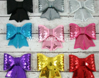 """6 Large Sequin Bows - 3"""" Appliques - Choose any 6 - Black, Pink, Grey, White Purple, Red, Yellow, Blue, Hot Pink"""