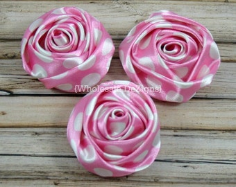 """Light Pink Polka Dot Satin Rolled Rosette Flowers - 2"""" - Set of 3 - Light Pink with White Dots"""