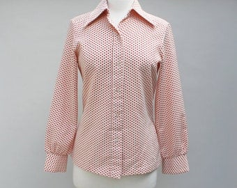 70s Vintage Ladies Blouse Tiny Red Polka Dots - 10