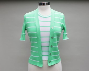 70s Vintage Fake Layered Seafoam Green Polyester Top - SMALL