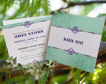 Baby or Bridal Shower Invitation: Purple and Mint