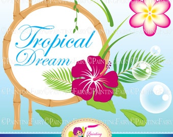 INSTANT DOWNLOAD Digital Clip Art Tropical Dream cute Hibiscus flowers Plumeria Paradise Island Plant Palm Personal Commercial Use pf00059-3