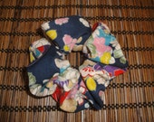 sale clearance 50% off Japanese kimono fabric scrunchie oriental navy and white light blue cotton hair tie