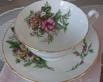 Consort England Pink Green Yellow Goldenrod Floral Cup and Saucer