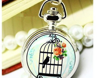 1pcs birdcage series Round pocket watch charms pendant  PW007   25mmx25mm