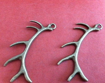 8pcs 32*68mm deer Antlers charm --Antique bronze pendant  Jewelry Findings
