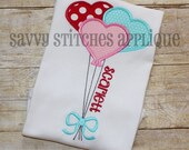 Heart Balloon Machine Embroidery Applique Design