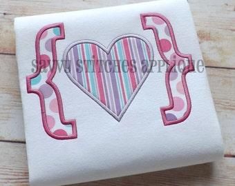 Heart Bracket Valentines Day Machine Embroidery Applique Design