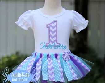 Personalized Lavender Chevron and Aqua Dots Fabric Tutu First Birthday Outfit