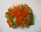 Lime Apple Green and Orange Hair Bow Over the Top Unique Boutique Toddler Girl