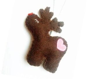 Rudolf - Reindeer ornament - felt ornaments - Christmas/Housewarming home decor