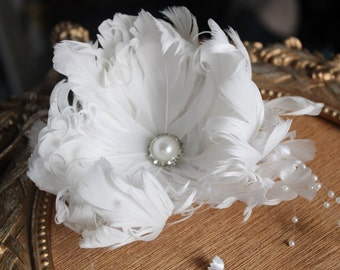 Cute white color  feather  flower  clip 5 inch wide