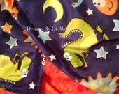 Minky Blanket Toddler Dinosaur and Orange Minky Dot Back  Toddler Boy Bedding 40 x 60