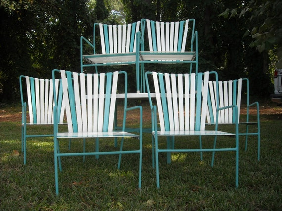 White Pool Deck Chairs: Reserved For Gabriela: Vintage Patio Set 6 Striped Vinyl Strap
