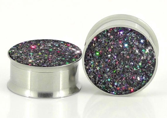 Silver Holographic Sparkle Plugs - 18g,8g,6g,4g,2g,0g,00g,7/16,1/2, 9/16, 5/8,11/16,3/4,7/8,24mm,26mm,28mm,30mm,32mm