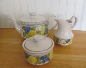 Rare Metlox Florence Teapot Cream and Sugar Vernonware