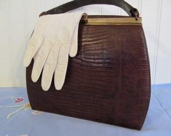 Classic Bellstone Lizard Skin Kelly Bag Purse
