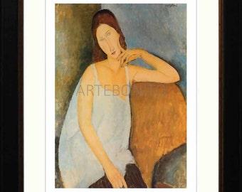 Amedeo Modigliani, Framed Giclees, 'Portrait of J. Hebuterne in blue shirt'.