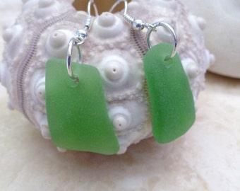 Beautiful Hawaiian Green Sea Glass & Sterling Silver Dangle Earrings
