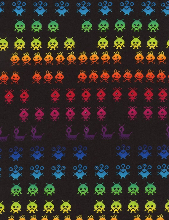 Space invaders arcade game aliens fabric by stashmodernfabric for Space fabric by the yard
