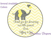 "20 - 2"" round Personalized PRINTED yellow elephant baby shower sticker yellow and gray chevron baby shower favor stickers"