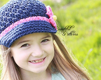 Crochet Hat Pattern Girl Crochet Hat Daisy Visor Beanie Newsboy PDF 150 Newborn to Adult  Photo Prop Instant Download