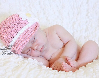 Crochet Hat Pattern Baby Crochet Hat Newsboy Daisy Visor Beanie PDF 150 Newborn to Adult  Photo Prop Instant Download