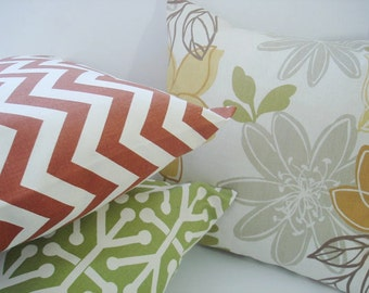 Pillow Covers 3 Accent Pillows  Chevron plus . natural orange olive green 20 X 20  Throw  Pillows  Throw Pillows  Decorative Throw Pillows