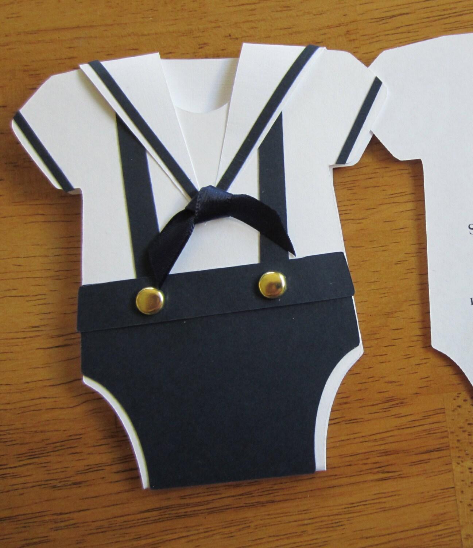 Handmade Baby Shower Invitation Onesie Shape w/Sailor Collar