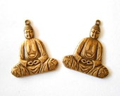 2 Antique Brass Buddha Charms