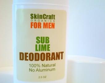 Deodorant for Men - Sub Lime Scent - Natural Lime Citrus Scent - No Baking Soda Formula - 2.5 oz