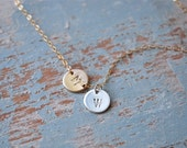 Two initial necklace, initial necklace, linked initial with charm, silver and gold initial, double initial necklace, personalized jewelry