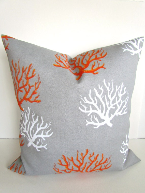 items similar to sale throw pillows 18x18 grey orange coral outdoor throw pillow covers gray. Black Bedroom Furniture Sets. Home Design Ideas
